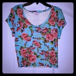 Floral Crop Top Lace Back